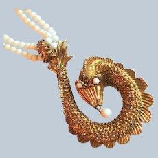 Pop 60s Massive Water Serpent Pendant Necklace
