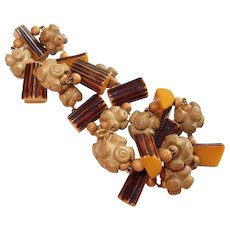 Bakelite Logs and Endless Knot Wood Bead Necklace