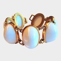 Mid-Century White Lucite Cabochon Bracelet
