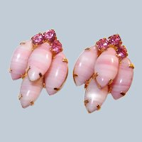 SCHREINER Pink Art Glass Clip Earrings
