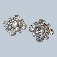 Large 1950s Square Clear Rhinestone Clip Earrings