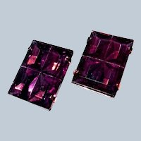 Large Purple Clip Earrings