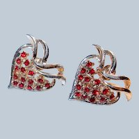 Red Rhinestone Strawberry or Heart Screwbacks