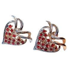 Red Rhinestone Strawberry or Heart Screwbacks