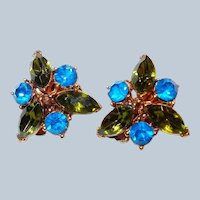 Carolina Blue and Olive Green Rhinestone Clip Earrings