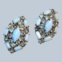 SCHREINER Opaque Powder Blue with Rhinestone Clip Earrings
