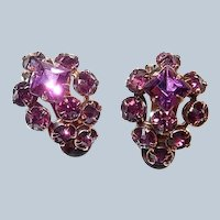 Purple Rhinestone Cluster Clip Earrings