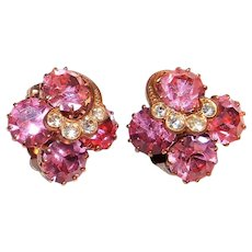 Pink Tooth Prong Clip Earrings with Clear Stone Swirl