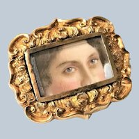 Antique Painted Victorian Lovers Eyes Gold Pin