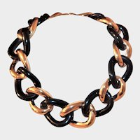Givenchy Gold and Black Chunky Chain Necklace