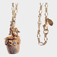 Kirks Folly Necklace Crying Cherub in Thimble