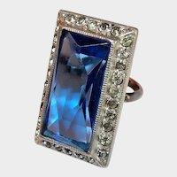 Alexandrite Blue Art Deco Sterling Paste Ring
