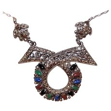 Art Deco Marcasite and Colored Cabochon Necklace