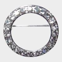Sterling CARL ART Crystal Circle Ring Pin