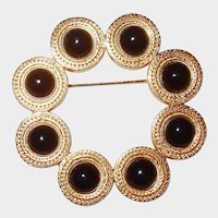 MONET Circle Pin with Black Cabochons