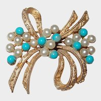 Turquoise and Faux Pearl Bow Brooch