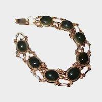 Green Cabochon Turtle Link Bracelet