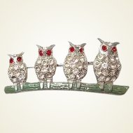 Owl Family Pin Lined up on Branch FINAL REDUCTION SALE 1920s Pot Metal