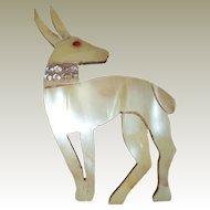 Art Deco Egyptian Gazelle Pin Pearlescent Celluloid Rhinestone Collar
