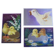 Easter Postcards Goose and Ducklings Hatching