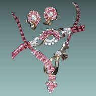 Pink Crystal Mazer Suite Includes Necklace, Bracelet, and Earrings