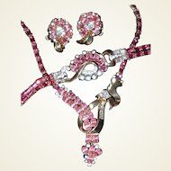 Pink Crystal Mazer Suite Includes Necklace, Bracelet, Earrings