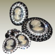 FINAL REDUCTION SALE Three Piece Cameo Set: Ring Brooch Earrings