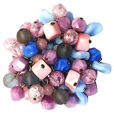 Purple and Blue Art Glass Beads Shaker Brooch