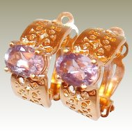 Amethyst Yellow Gold-filled Filigree Clip Earrings FINAL REDUCTION SALE