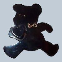 Black Resin Teddy Bear Pin Holding Heart by Framboisine Paris Last Chance SALE