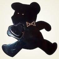 Black Resin Teddy Bear Pin Holding Heart by Framboisine Paris