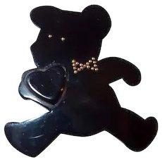 Black Resin Teddy Bear Pin Holding Heart by Framboisine Paris FINAL REDUCTION SALE