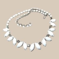 Smoke Crystal Milk Glass Teardrop Necklace