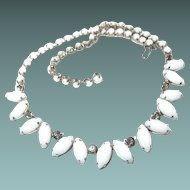Smoke Crystal Milk Glass Teardrop Choker Style Necklace
