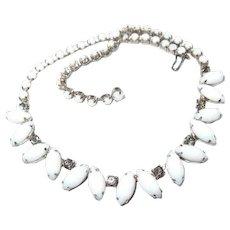 Smoke Crystal Milk Glass Teardrop Necklace FINAL REDUCTION SALE