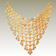 FINAL REDUCTION SALE Gold-tone Brass Bib Necklace with Dangles