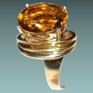 18k Gold Sculpture Ring with Golden Citrine Stone Custom Made