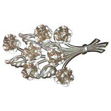 Early Plastic Huge Tiered Flower Bouquet Brooch