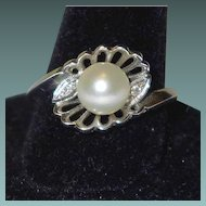 High End Vintage Diamond and Pearl 14k Gold Ring