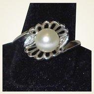 High End Vintage Diamond Pearl 14k Gold Ring