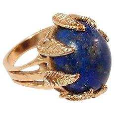 Natural Lapis Lazuli 14kt Yellow Gold Ring FINAL REDUCTION SALE Gold Nugget Leaf Motif Prongs