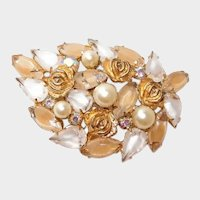 Weiss Candy Stripped Stone Brooch with Roses Faux Pearls