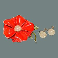 Red Enamel Tiered Flower Pin with Earrings 50% off Shop from Home Sale