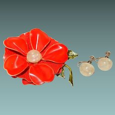 Red Enamel Tiered Flower Pin with Earrings