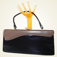 Unusual Patterned Two-Tone Non-Leather Day Bag