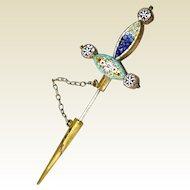 Antique Micro Mosaic  Dagger Hat Pin Forget-Me-Nots  Daisies  Poppies