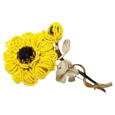 Vendome Black-Eyed-Susan Yellow Seed Bead Brooch FINAL REDUCTION SALE Book Piece as Coro