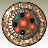 REDUCTION SALE: Unique Bakelite Pin with Mosaic Style Multi-color Sampler Beads - Book Piece