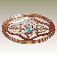 Rare Symmetalic Art Deco Blue Topaz Sterling 14kt Gold Pin FINAL REDUCTION SALE