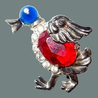 50% off Shop at Home Sale Duck Figural Pin with Cabochon and Rhinestones